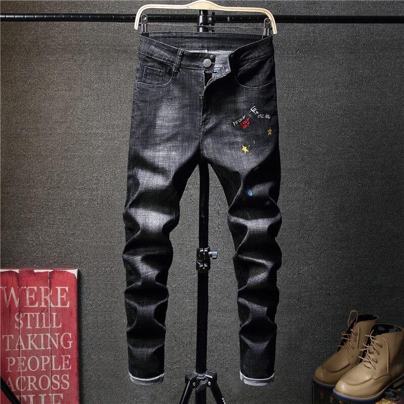 2018 Jeans Men Embroidery Hip Hop Korean Biker Mens Black Punk Jean Streetwear Denim Party Club Designer Slim Fit Trousers