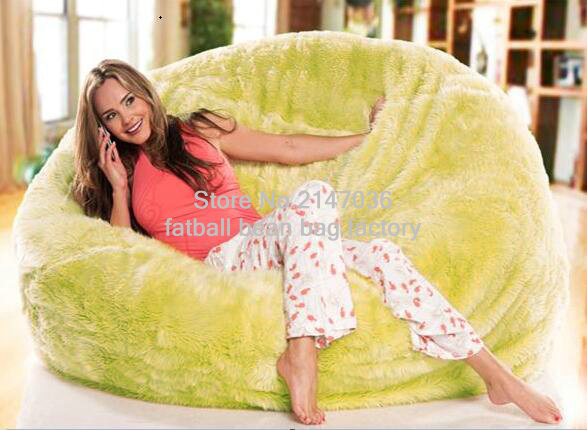 SHAGGY FUR SOLID LEANBACK BEAN BAG CHAIR IVORY LOUNGE BEDROOM, oversized fur lounger sofa furniture