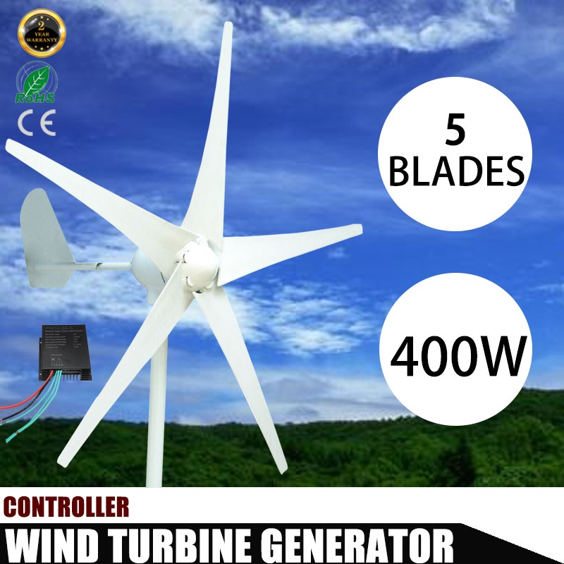 Best Promotion 400W Wind Turbines Generator DC 12V 24V 3/5 Blade with windmill Charge Controller Wind Power Generator wind turbine generator 400w horizontal wind generator 12v 24v windmill come with hybrid controller 600w off grid inverter