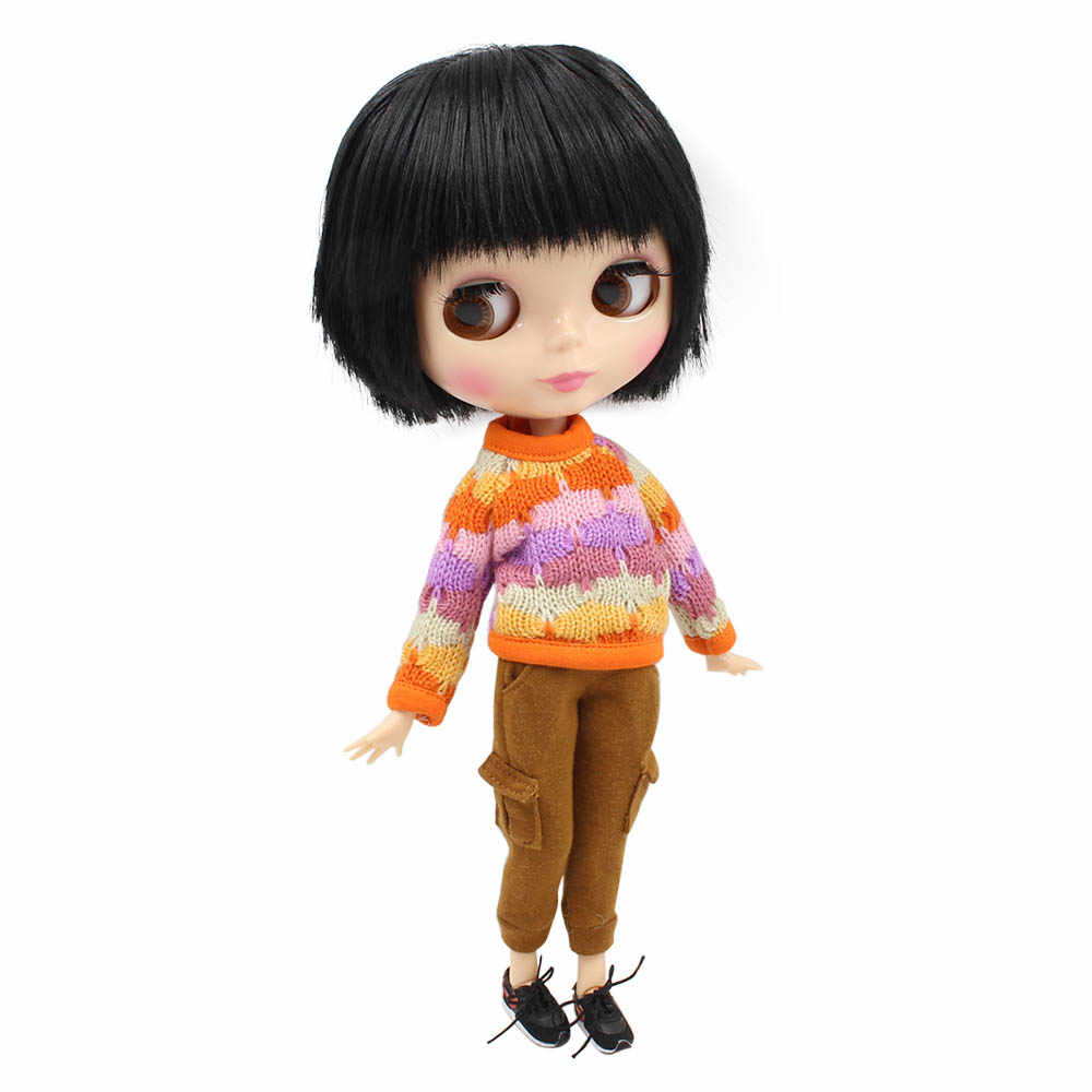 Кукла Nude Blyth для мальчиков и девочек, натуральная кожа, черные волосы с челкой, подходит для смены BJD Factory Blyth No. BL9601