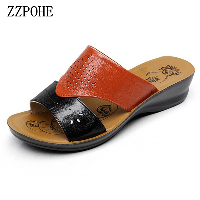 ZZPOHE New fashion leather ladies wedge slippers female summer casual beach mother soft bottom sandals Women comfortable Shoes zzpohe 2018 summer shoes woman sandals women casual comfortable wedges platform sandals female soft leather plus size sandals
