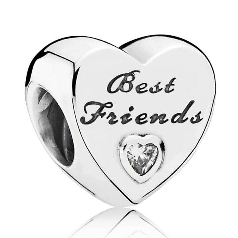 Authentic S925 Sterling Silver DIY Jewelry Heart Friendship Charms fit Lady Bracelet Bangle Lady & Girl GiftAuthentic S925 Sterling Silver DIY Jewelry Heart Friendship Charms fit Lady Bracelet Bangle Lady & Girl Gift