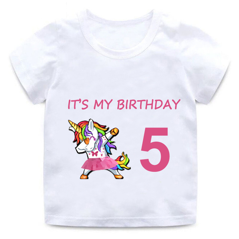 Children Unicorn Cartoon T-shirt Girl Happy Birthday 1-9 Print Short Sleeve Cotton Round Neck T-Shirt Best Birthday Gift Funny image