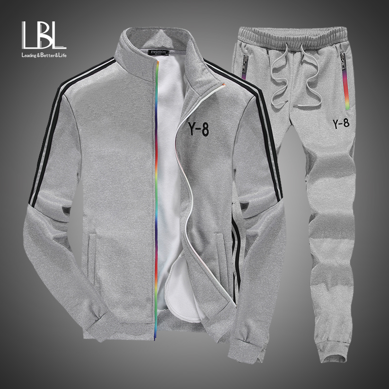 Men Tracksuit+Sweatpants Set 2018 New Brand Autumn Winter 2PCS Stand Collar Zipper Fleece Patchwork Sweatshirt Casual Hoodie Men