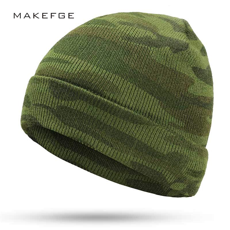 Winter Men's Knit Camouflage Hats Brand Winter Ms. Warm New Gorros Touca Camouflage Outdoor Warm Green Military Army Caps Bone