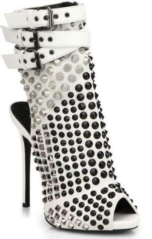 Venda quente Cravejado Rebites Botas de Plataforma da Bracelete Peep Toe Mulheres Sapatos Plus Size de Salto Alto Ankle Boots de Verão - 2