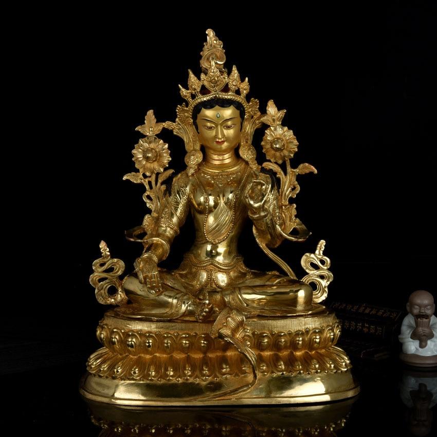 Huge 48 cm LARGE # HOME hall  efficacious Protection Talisman Tibetan Buddhism gold-plated gilt Green Tara buddha figure statue Huge 48 cm LARGE # HOME hall  efficacious Protection Talisman Tibetan Buddhism gold-plated gilt Green Tara buddha figure statue