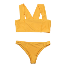 TRYNNA Biquini Bikini Pure Yellow Wide Shoulder Strap Wipe Chest Cross Sexy Two Pieces S Wimps Without Pads
