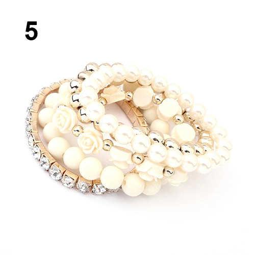 Bluelans акриловые розы круглый с искусственным жемчугом Сияющий кристалл браслет для модной девушки