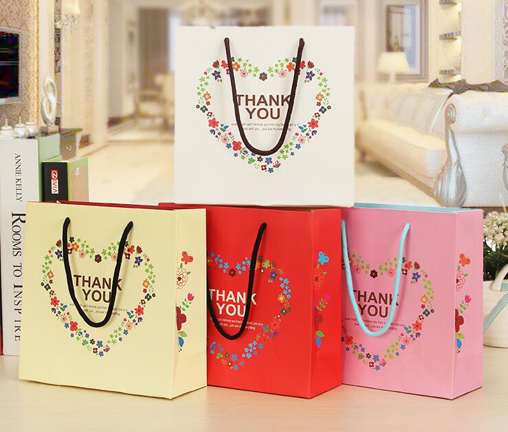12 16 Wedding Paper Gift Bag Thank You With Handle Packaging 20 8 20cm In Bags Wring Supplies From Home Garden