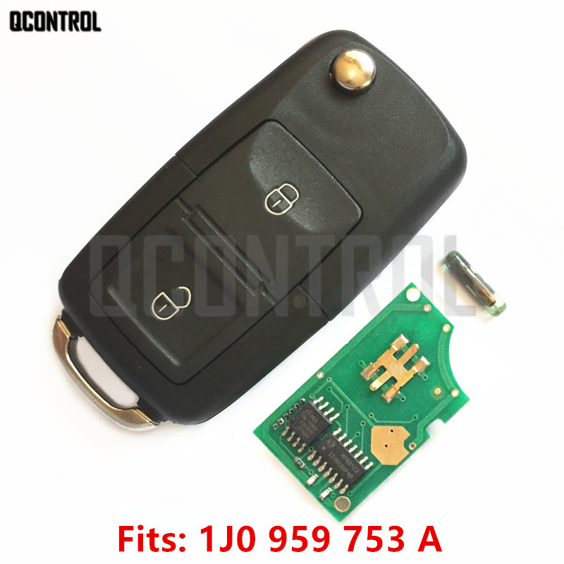 Qcontrol Car Remote Key Diy For Vw  Volkswagen Lupo Bora Passat Polo Golf Beetle 1j0959753a