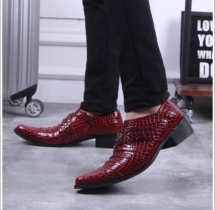 Hauteur Verni Casual Noir Croissante Hommes Smart Sur Orteils Oxford Med Chaussures Rouge Rivets Glissent De rouge Cuir En Mariage Talon Pointu qZd80nd