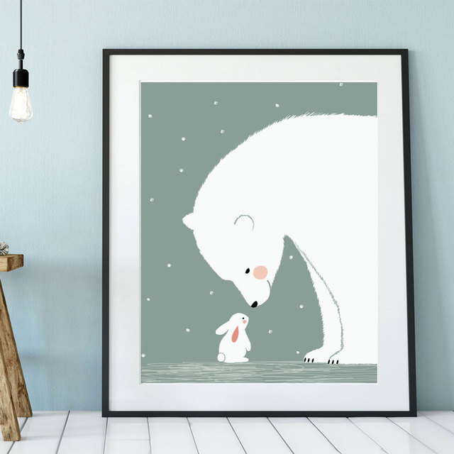 Polar Bear And Bunny Nursery Art Print Cute Animal Kids Bedroom Decor Friendship Gift