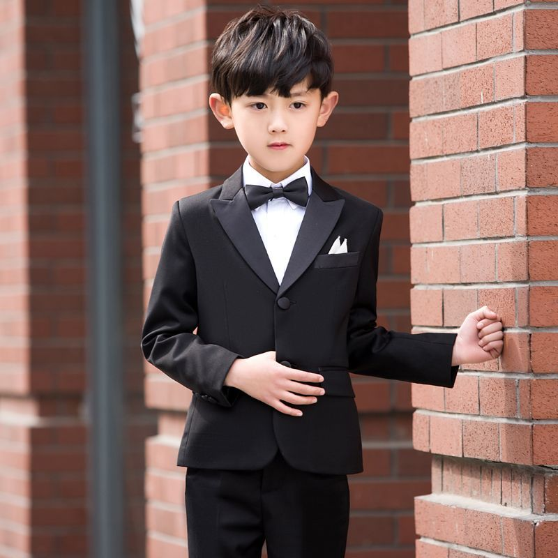 Boys Formal Suits For Wedding Style Child Black Party Tuxedos Formal Suits Blazer Jackets+Pants+Vest+Bow Ties