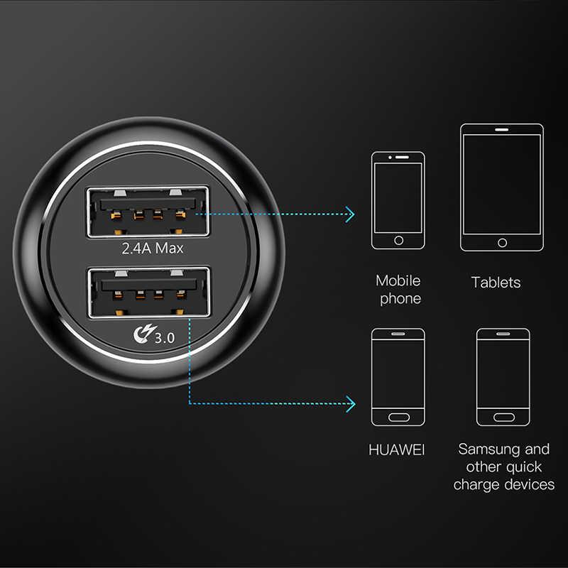 Chargeur rapide de voiture d'usb de la Charge 3.0 de Baseus QC QC3.0 Turbo chargeur rapide d'usb de double voiture pour l'iphone Xs X Xiaomi Mi téléphone portable