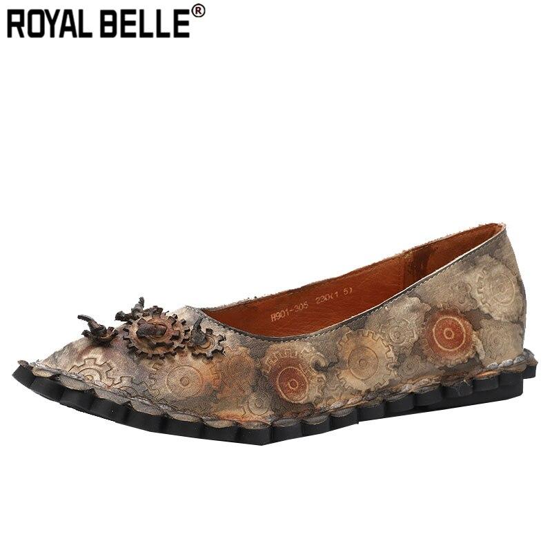 Flight Tracker Royal Belle Echtem Leder Handgemachte Frauen Wohnungen Vintage Damen Schuhe Spitz Casual Gedruckt Flache Blumen Creepers Mokassins Online Shop