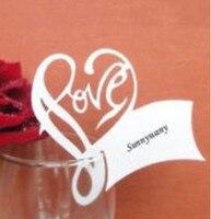 120 stks/partij Romantische liefde Plaats Kaart Wijnglas Kaart Papier Escorte Laser Cut Tafel Naam Card Bruiloft Decoratie wd105