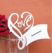 120pcs/lot Romantic love Place Card Wine Glass Paper Escort Laser Cut Table Name Wedding Party Decoration wd105