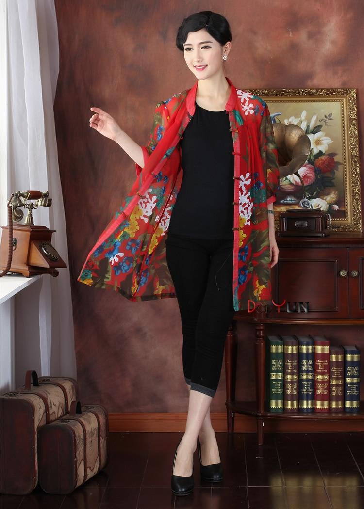 Chinois traditionnel hauts femme Gaze Chemise Taille: M-4XL