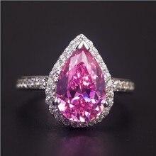 Супер 3 CT грушевидное кольцо 14 карат, белое золото, розовое синтетическое бриллиантовое кольцо для невесты, A-OK, качественное Золотое кольцо