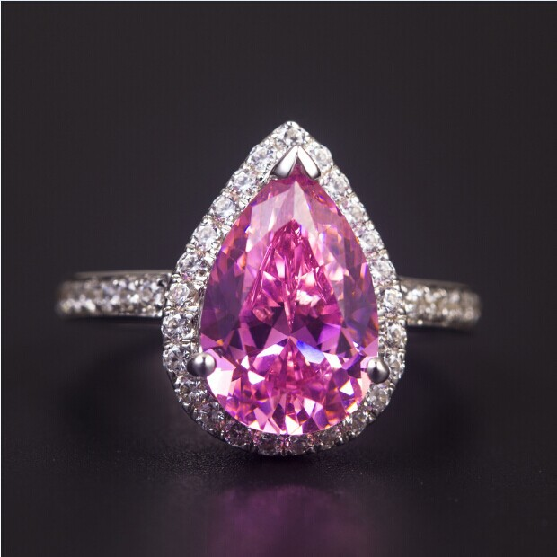 Super 3 Ct Pear Cut Solid 14 Karat White Gold Ring Pink Synthetic Diamonds For