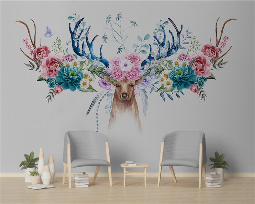 beibehang Modern minimalist papel de parede 3d wallpaper simple classic Nordic flowers American deer head floral wall background in Wallpapers from Home Improvement