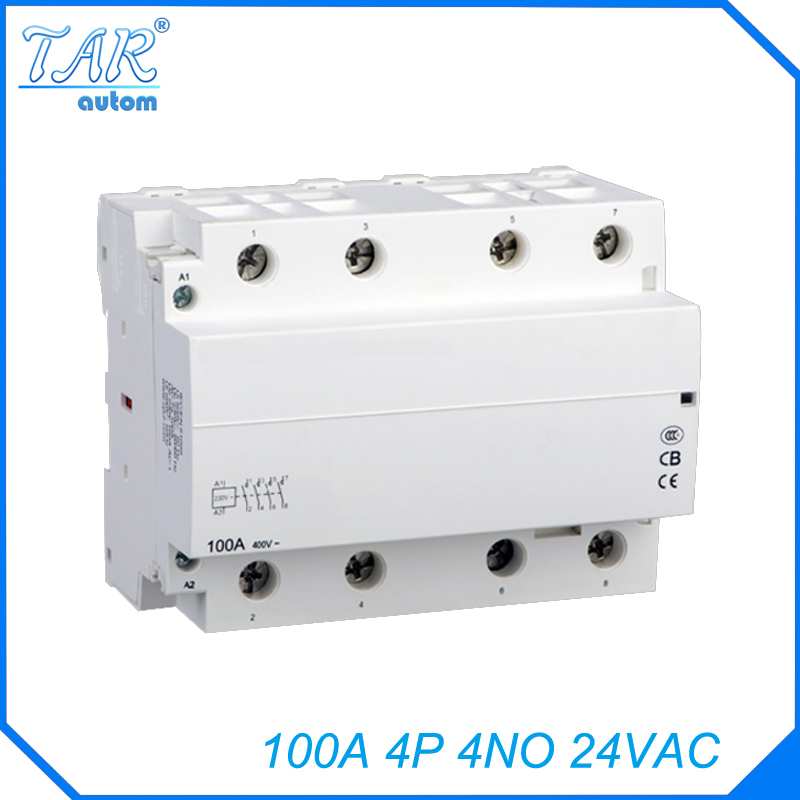 Modular household AC contactor for automobile charging pile 4NO 100A 24V modular charging pile with
