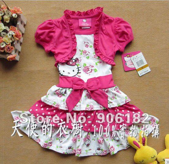 e5c70d04b 1PC Hello Kitty Dress girls dress pink dress baby dress kids clothes  children wear baby clothing 2T-6X