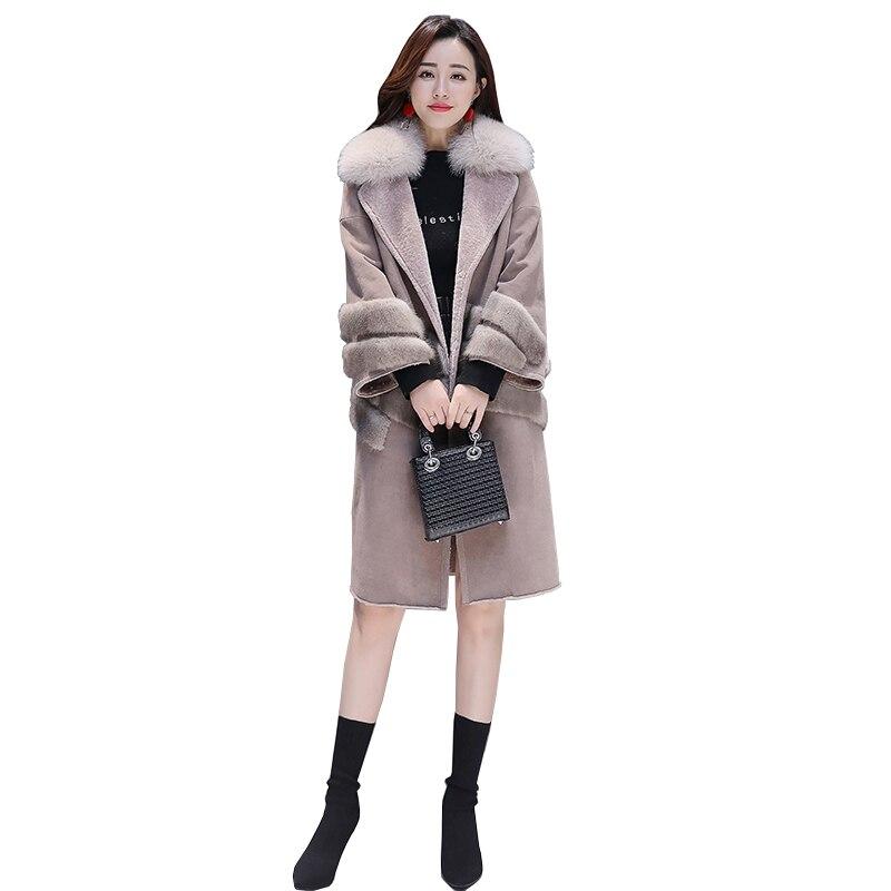 2019 nouvelle veste femme manteau chaud Parka col en fourrure x-long kaki vestes loisirs femme Parkas grande taille épaissir vêtements de sortie d'hiver