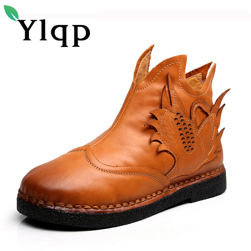 Ylqp 2017 New Autumn and Winter Retro Genuine Leather Short Boots Female Flat Bottom Cowhide Ankle Boots Soft Soles Women Shoes huizumei new genuine leather women s boots autumn and winter shoes retro handmade round toe soft bottom rubber ankle ladies boot