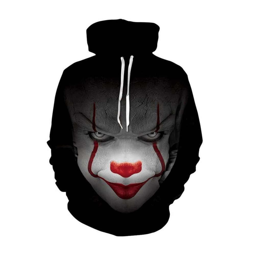 Stephen King's It Hoodie Horror Movie IT  Sweatshirts Joker Men Hip Hop Streetwear Halloween Winter Warm Hooded Coat Casual Tops