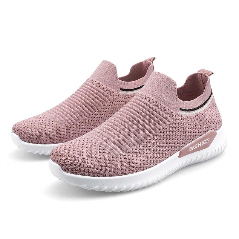 ZHJLUT Summer Socks Running Shoes For Women Breathable Flats Sport Shoes Pink/Black Elastic Sock Sneakers Woman Walking Footwear