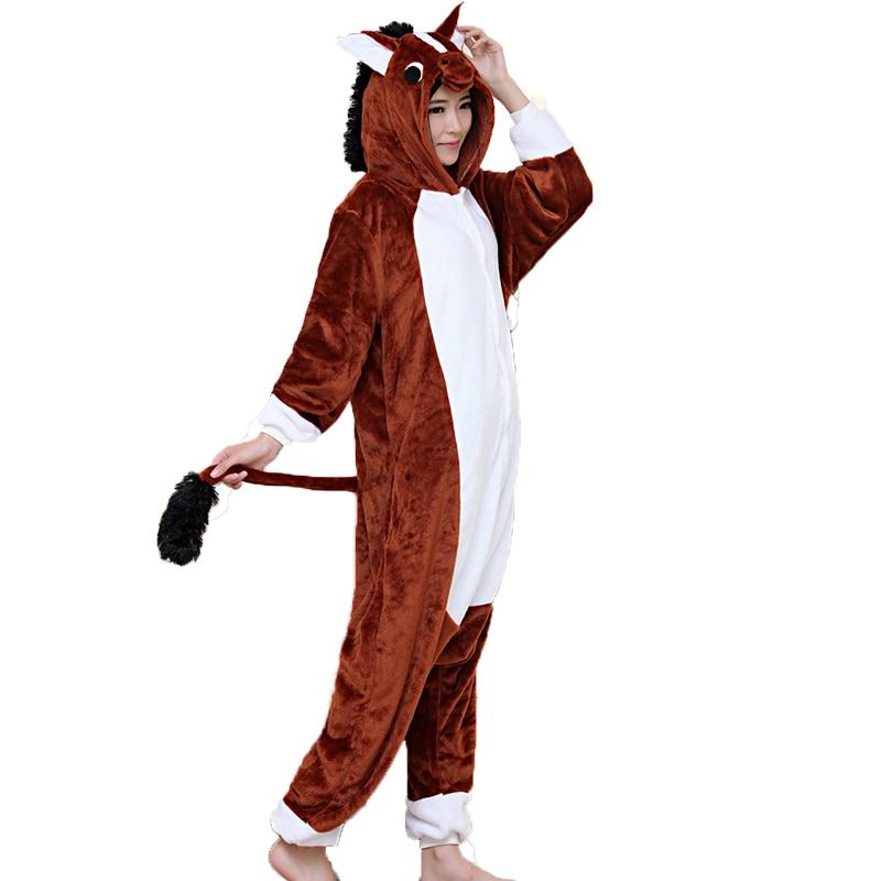Adult Unisex Women Onesie Wholesale Animal Kigurumi Pajamas Brown Horse Onesies Hooded Jumpsuit Sleepwear Winter Flannel Pajamas