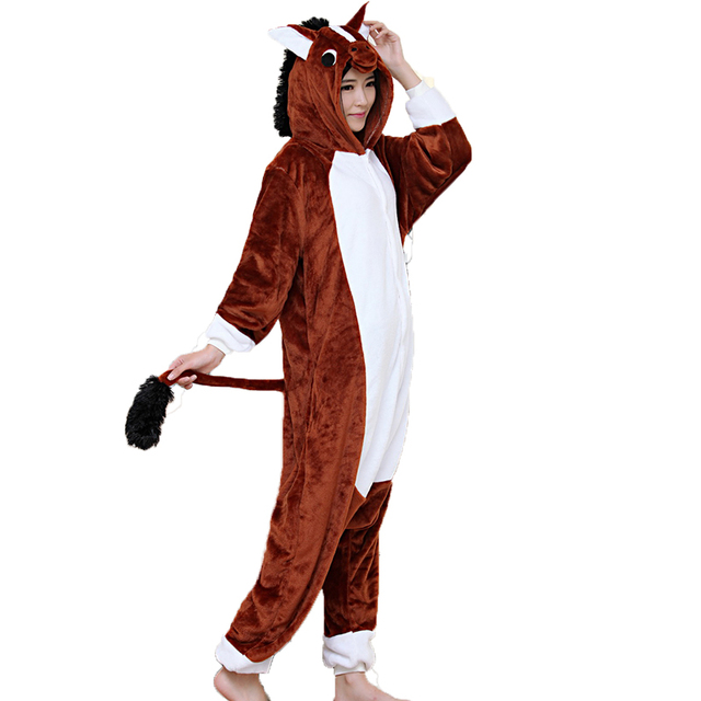 f99e6608df Adult Unisex Women Onesie Wholesale Animal Kigurumi Pajamas Brown Horse  Onesies Hooded Jumpsuit Sleepwear Winter Flannel Pajamas