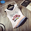 Sea mao New Fashion Tops Deportivo Summer Loose Vest Female Cartoon Car Printed Cotton Sleeveless Shirt Women Cute Tanks Tops