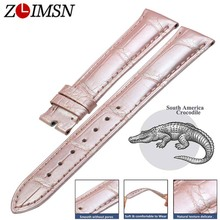 ZLIMSN Crocodile Leather Strap Quick Installation for Women Pink Luxury Alligator Watch Bands Size 12mm-26mm 38mm-42mm Watchband
