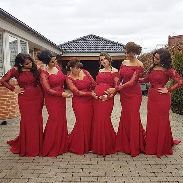 2016 New Arabic African Red Bridesmaid Dresses Plus Size Maternity Off  Shoulder Long Sleeves Lace Backless Pregnant Formal Dress 07d2863381dd