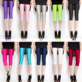 Fluorescent color leggings women short legging 2016 summer mid-calf slim pants M-XL high elasticity ladies  leggins KM1580