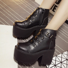 Botas Y Botines Mujer 2017 Designer Rock Style Platform Boots Punk Martin Boots Fashion Motorcycle Boots Black Ankle Boots