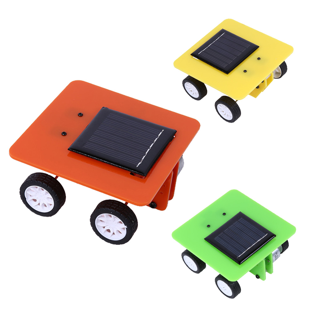 1 pc new abs solar toy car kids assemble educational puzzle playthings pupil science technology production diy toys 3 colors