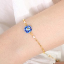 Handmade Enamel Glaze Female Bracelet Fashion Blue Flower Pearl Jewel Simple Romantic Lady Birthday Holiday Gift