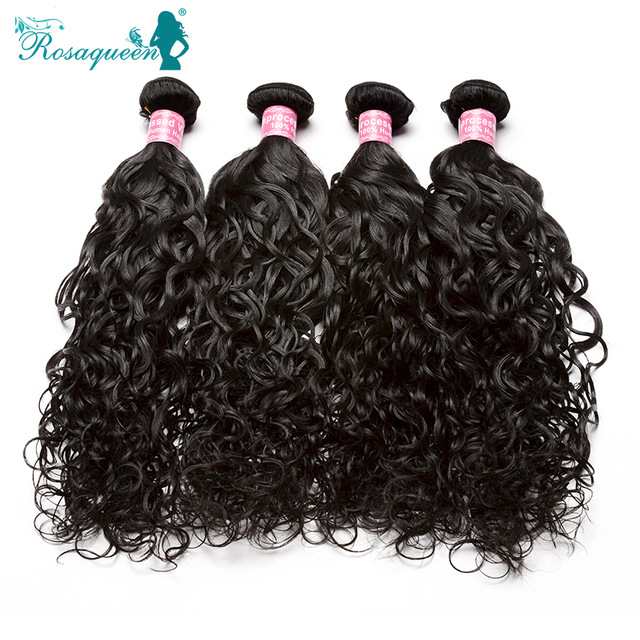 Rosa Queen Hair Products Brazilian Virgin Hair Water Wave 4Pcs/Lot Unprocessed Brazilian Wet And Wavy Human Hair Weave Bundles
