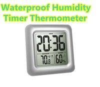 By Dhl Fedex 30pcs Waterproof LCD Digital Bathroom Wall Mirror Clocks Kitchen Temperature Humidity Sensor