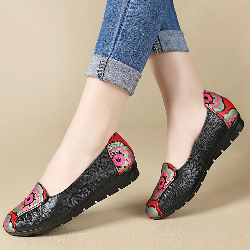 Ceyaneao Mou rouge Casual Plates Mode D'âge Confortable Bouche Noir Vent Moyen Fond De Cuir National Chaussures Mère En Femmes AzwqAU4r