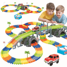 New Racing Track with Car Race Track Bend Flexible Electronic Rail Race Car Vehicle Toy Roller Coaster Toys Xmas Gifts for Kids 153pcs kids diy assemble jurassic dinosaur rail race track car toy rail blocks railway roller coaster racing tracks vehicle to