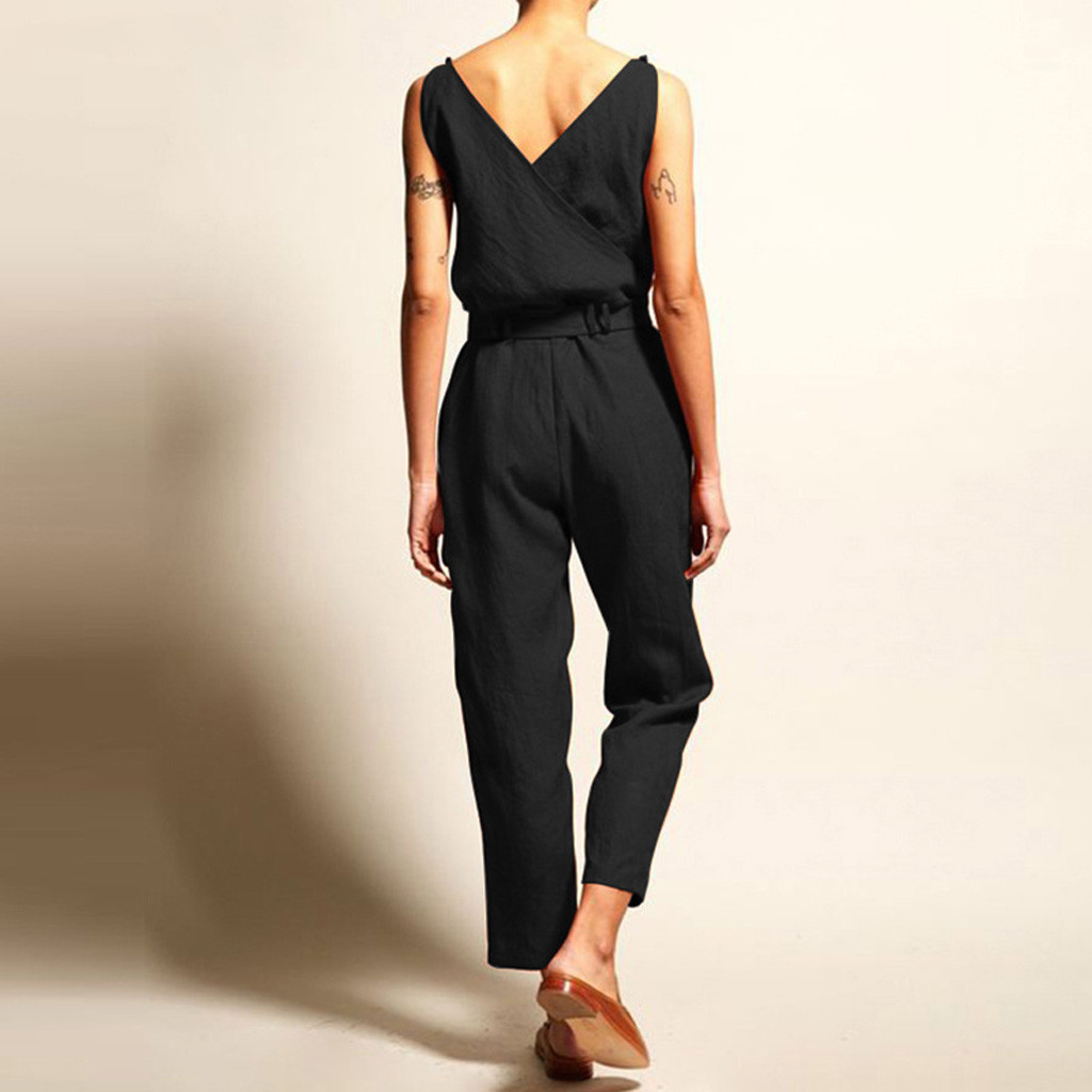Womail Fashion Для женщин комбинезоны летние Повседневное однотонное платье без рукавов с v-образным вырезом, с поясом, размера плюс белье на шнуровке длинный комбинезон APR30