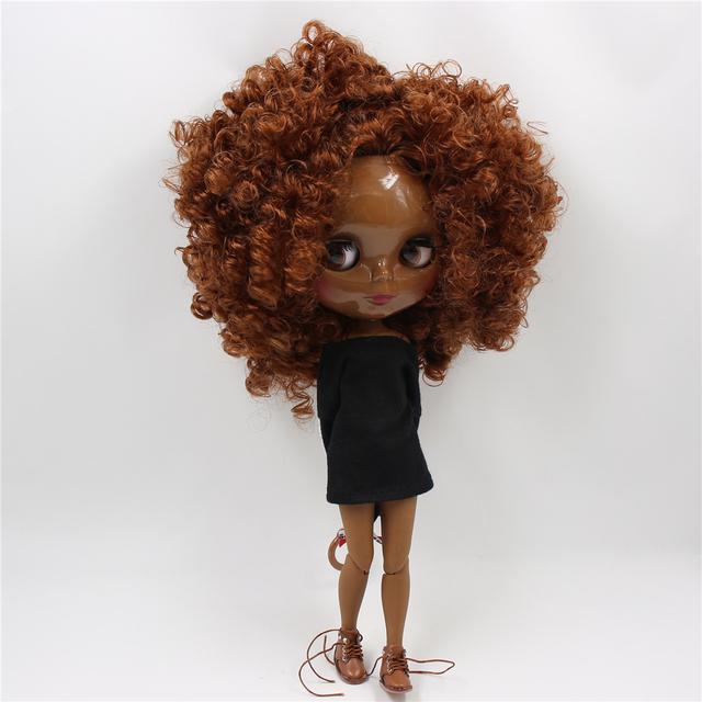 TBL Neo Blythe lutka smeđe tijelo Afro kose spojenog tijela