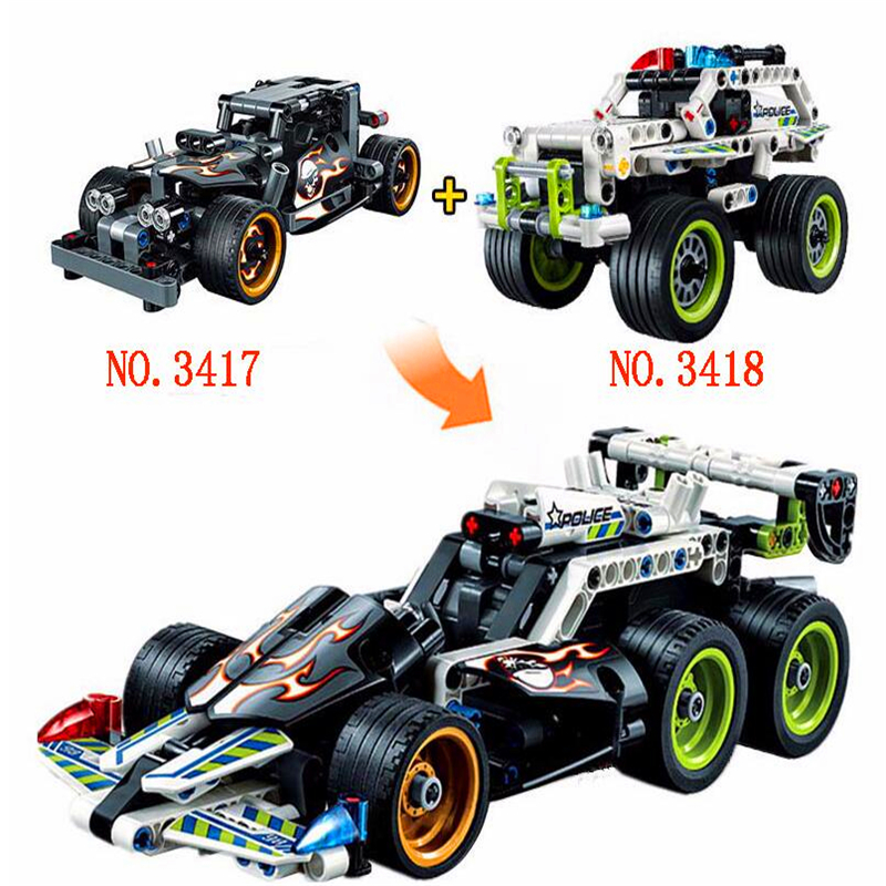 DECOOL 2 In 1 Technic Getaway Pullback Racing Car Building Blocks Brick Set Compatible Playmobil Toys For Children in Blocks from Toys Hobbies