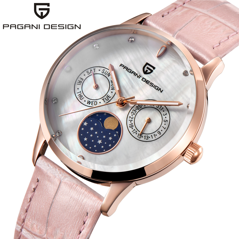 Fashion Quartz WatchCasual Dress Women's Watch Pagani Design Ladies Women Leather Rose Gold Crystal reloje mujer montre femme