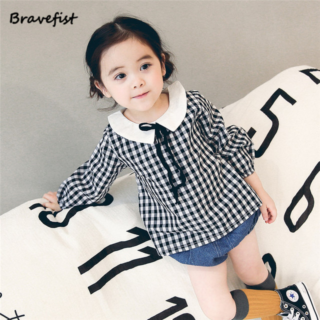9113a0fa0debc US $11.69 10% OFF|Back Buttons Baby Striped Blouse Spring Autumn 0 1 2  Years Old Baby Plaid Shirts Cotton Korean Style Children Clothing  Outwear-in ...